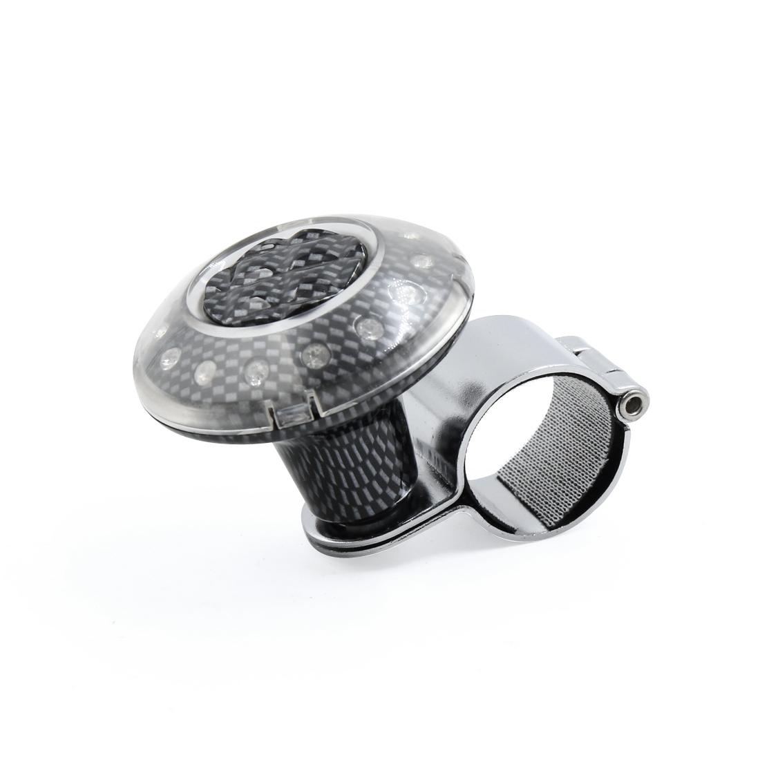 Rhinestone Decor Carbon Fiber Pattern Car Steering Wheel Knob Spinner Auxiliary Booster Grip Ball