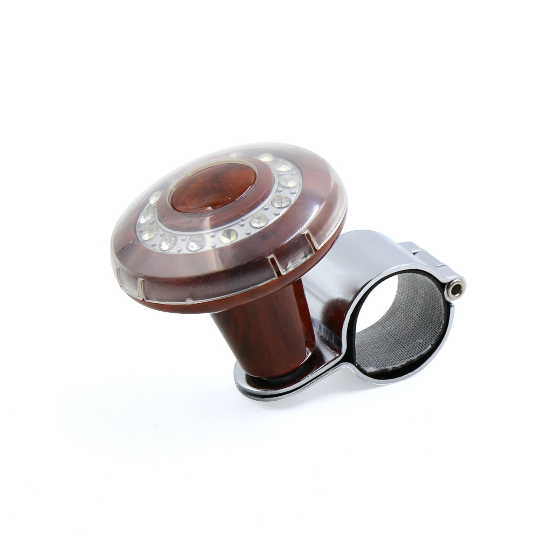 Rhinestone Decor Brown Power Handle Steering Wheel Spinner Knob Auxiliary Booster Grip for Car