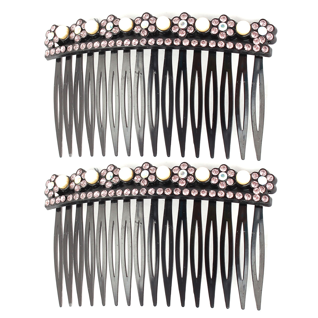 Lady Plastic Flower Design Decor Inlaid 16 Teeth Comb Hair Clips Pale Pink 2pcs