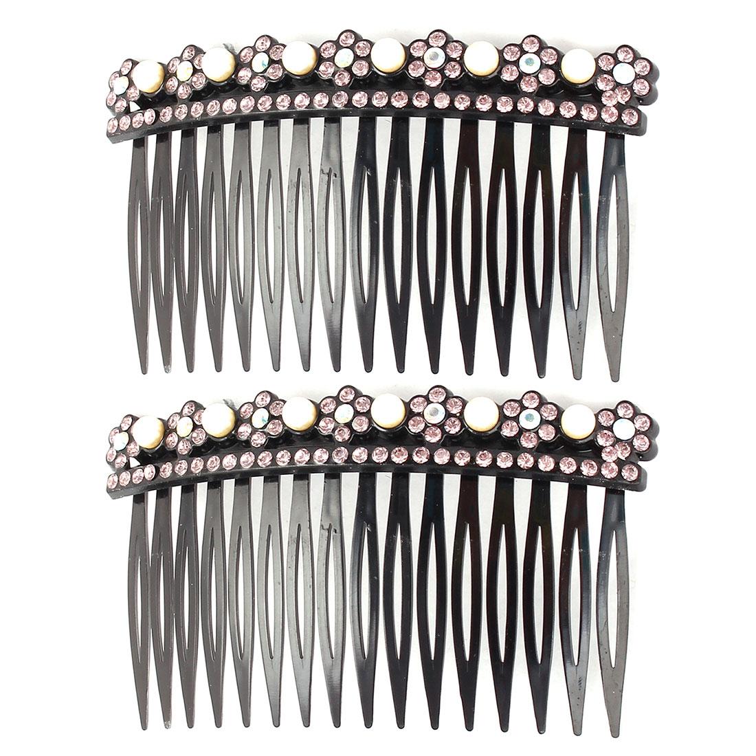Lady Plastic Flower Design Decor Inlaid 16 Teeth Comb Hair Clips Pale Pink 2pcs