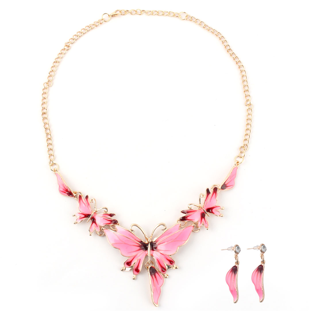 Lady Metal Vintage Style Butterfly Shape Chain Choker Necklace Earrings Set Pink