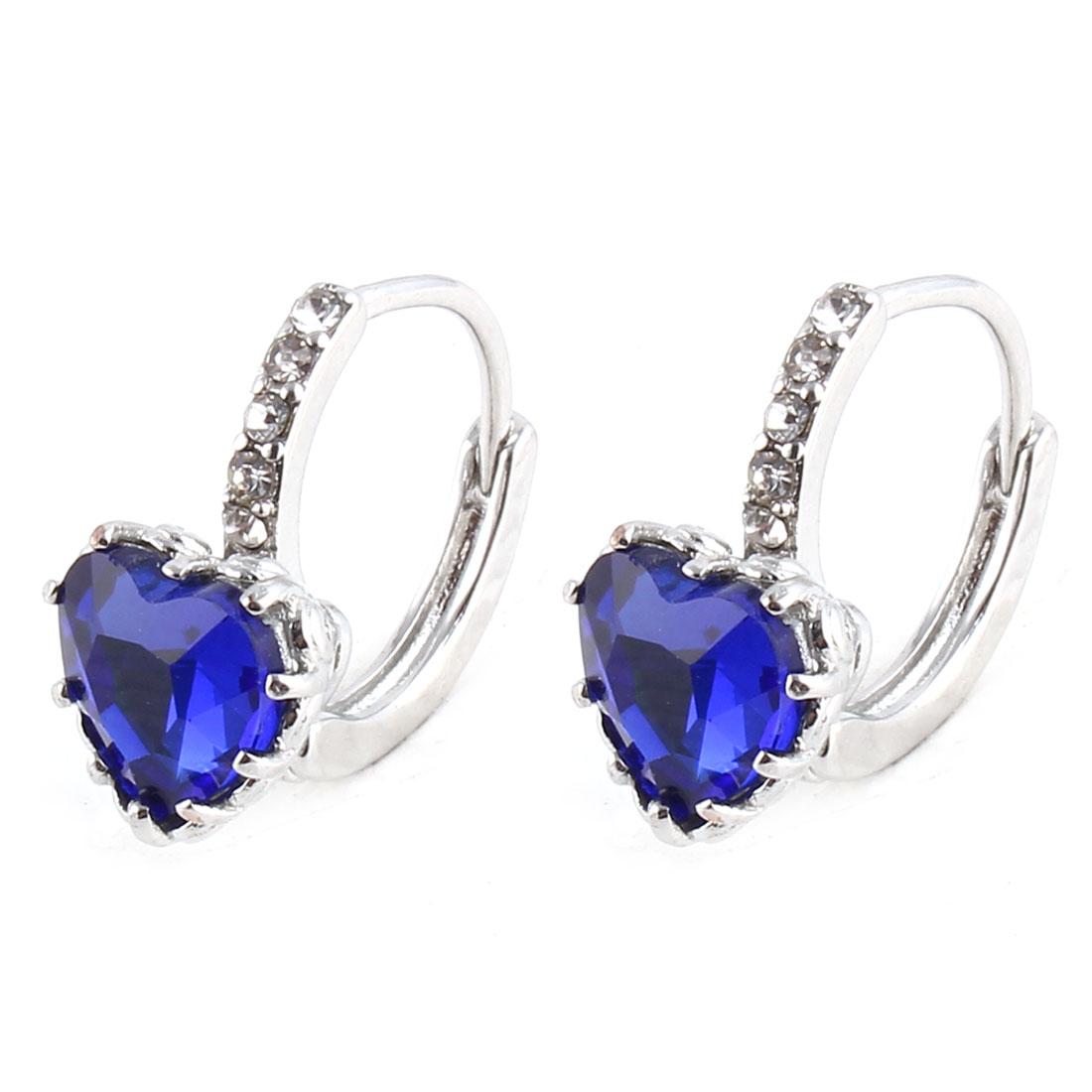 Women Metal Heart Shaped Faux Rhinestone Jewelry Decor Eardrop Hoop Earrings Dark Blue Pair
