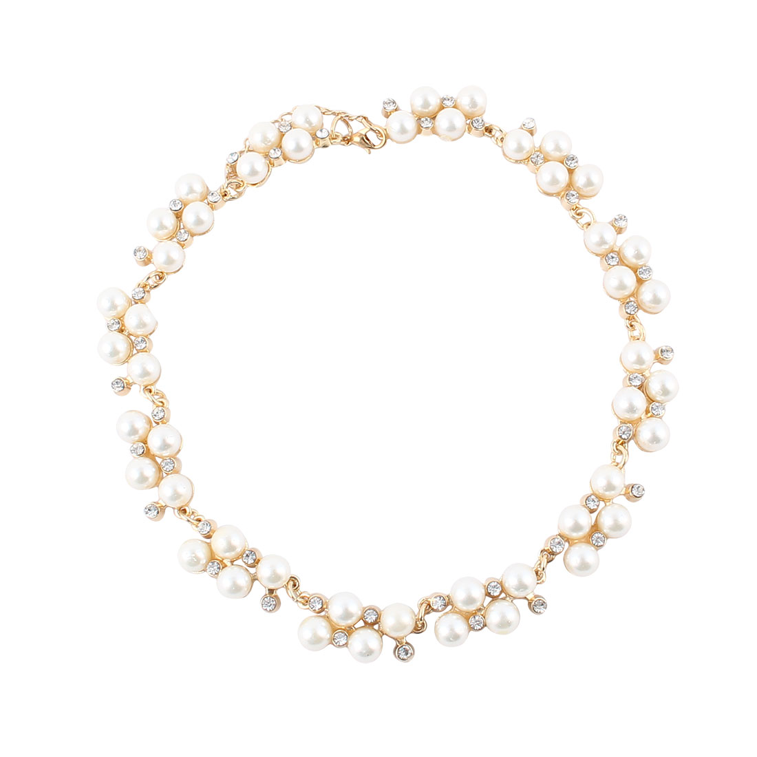 Women Metal Imitation Pearl Rhinestone Inlaid Bib Statement Choker Necklace