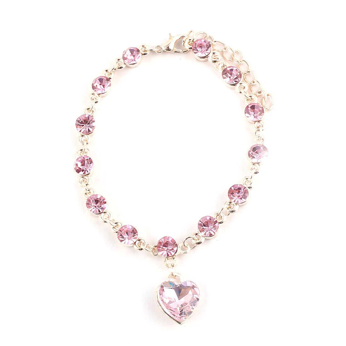Plastic Heart Design Decor Jewelry Wrist Chain Bangle Bracelet Pink Rose Gold