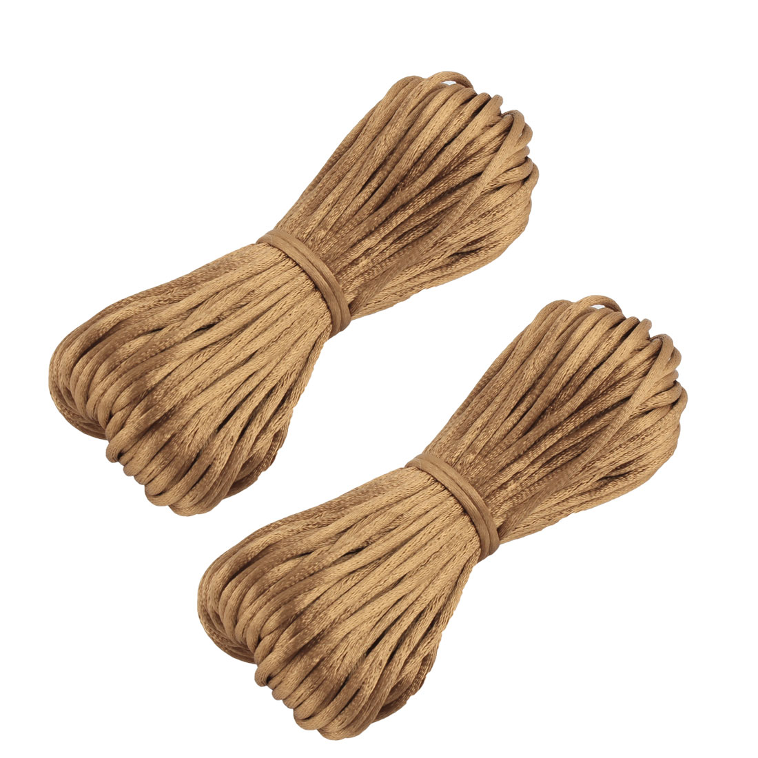 Festival Nylon Handmade DIY Chinese Knot Cord String Rope Brown 22 Yards 2pcs