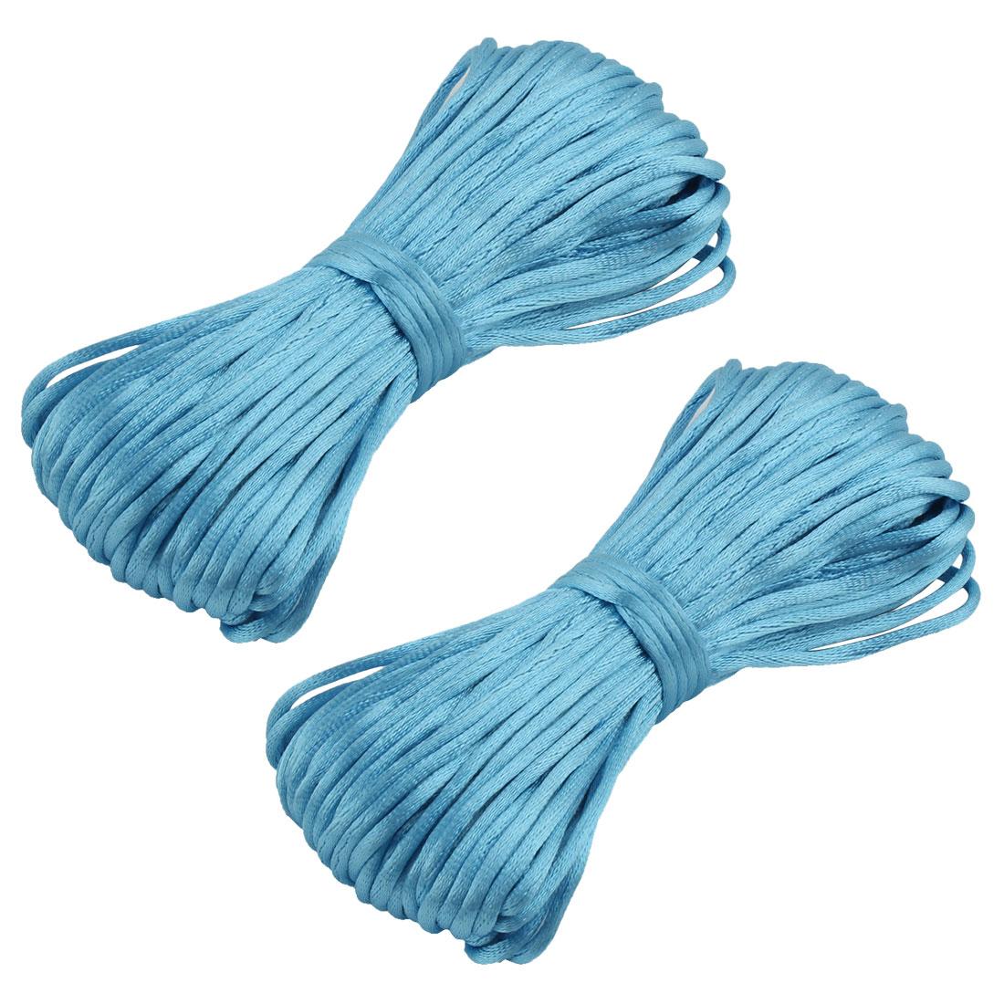 Nylon Handmade Craft DIY Chinese Knot Cord Rope Light Blue 22 Yards 2pcs