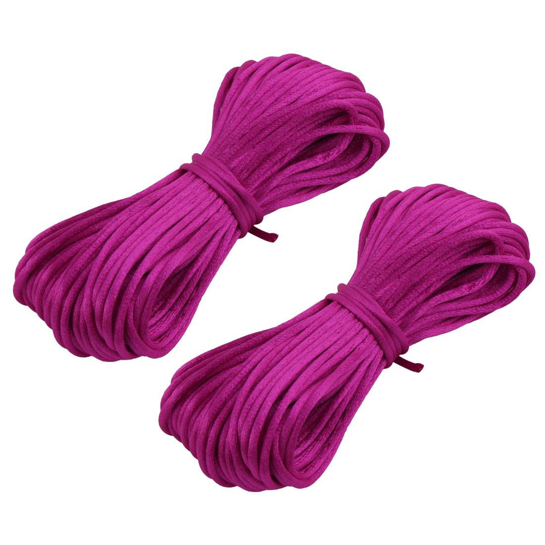 Festival Nylon Handmade DIY Chinese Knot Cord String Dark Fuchsia 22 Yards 2pcs