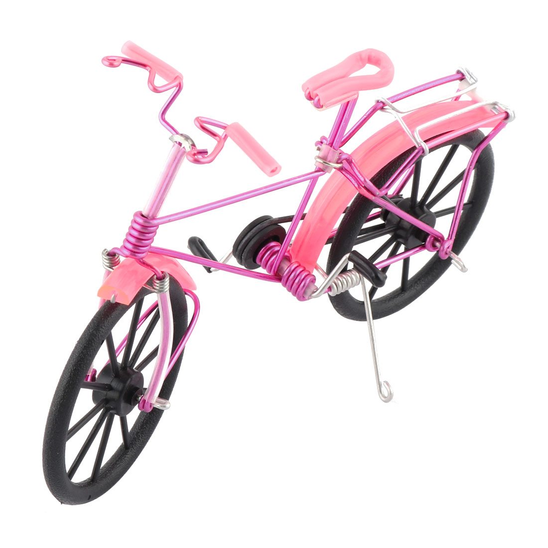 Aluminium Alloy Vintage Style Desk Decor Handmade Toy Gift Bicycle Model Fuchsia