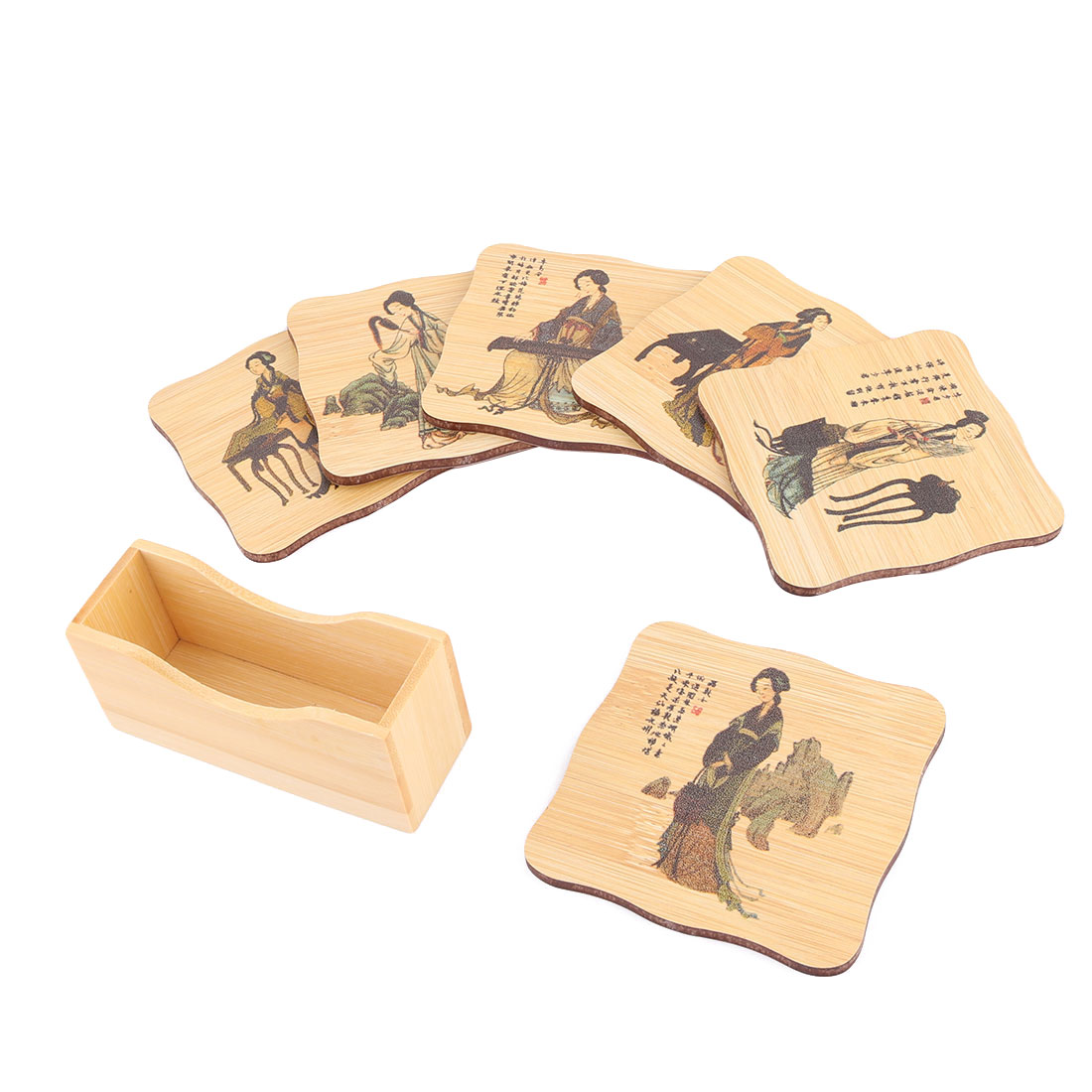 Bamboo Character Pattern Square Cup Heat Resistant Pad Coaster Wood Color Set