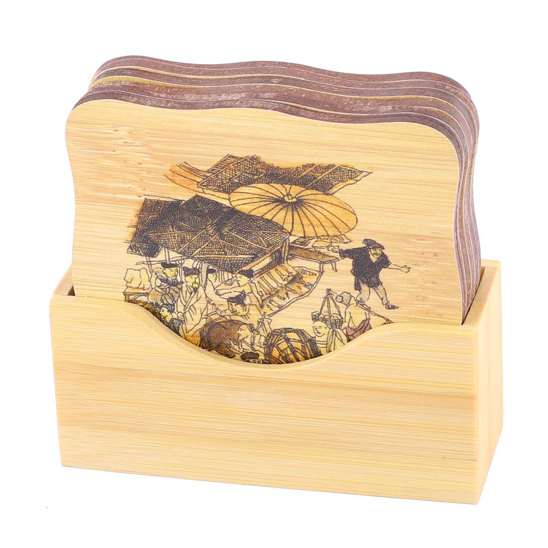 Bamboo Crowd Print Square Cup Bowl Heat Resistant Pad Mat Coaster Wood Color Set