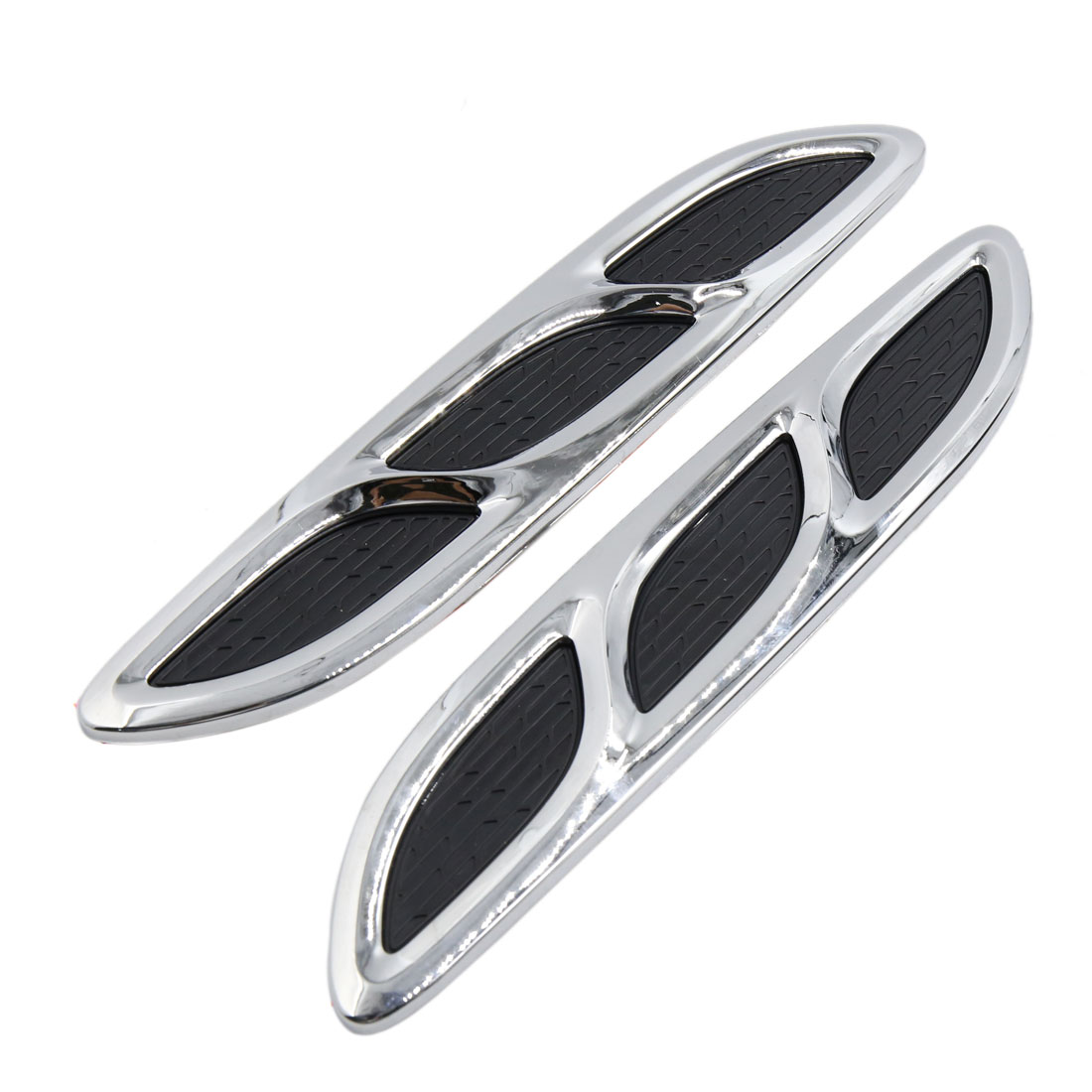 2 Pcs Silver Tone Black Car Air Intake Flow Vent Fender Decoration Sticker