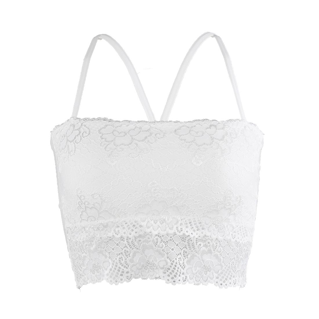 Women Lightweight Back Floral Crochet Straps Lace Decor Bra Top White One Size