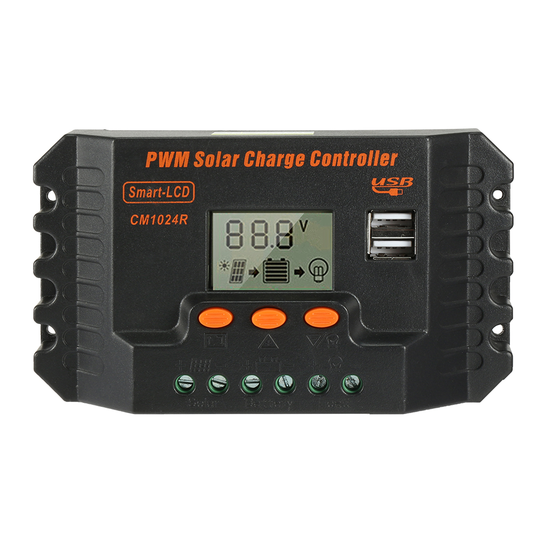 Intelligent 10A PWM Solar Panel Charge Controller 12V-24V Battery Regulator CM1024R