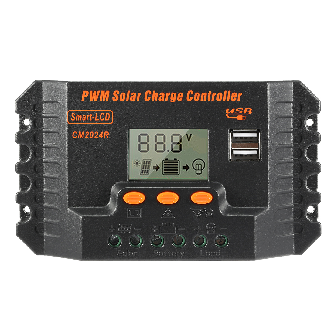20A PWM Solar Charge Controller 12V-24V Regulator LCD Display Panel USB Charger