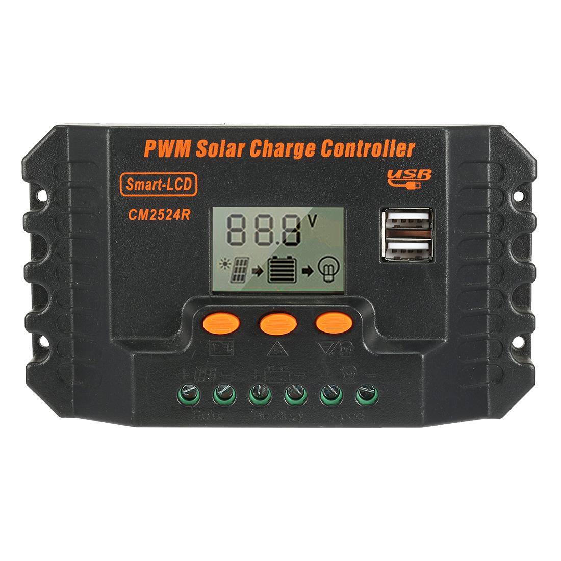 Intelligent 25A PWM Solar Panel Charge Controller 12V-24V Battery Regulator CM2524R