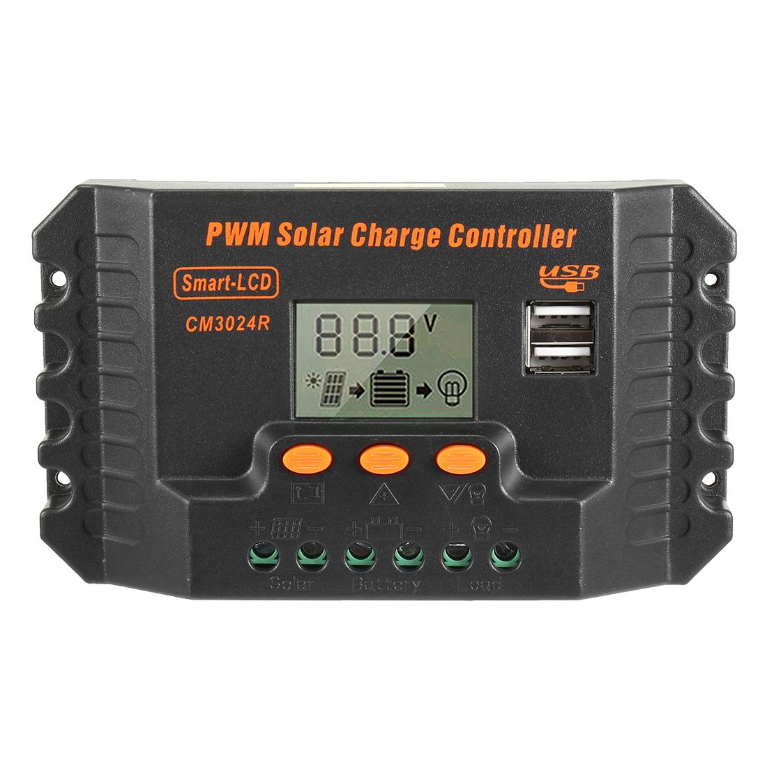 Intelligent 30A PWM Solar Panel Charge Controller 12V-24V Battery Regulator CM3024R