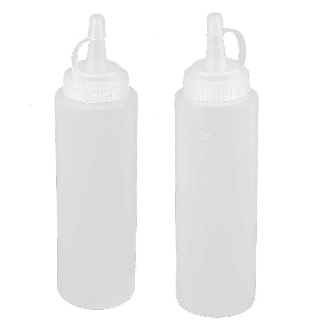 Kitchen Plastic Sauce Vinegar Condiment Storage Squeeze Bottle White 200ml 2pcs