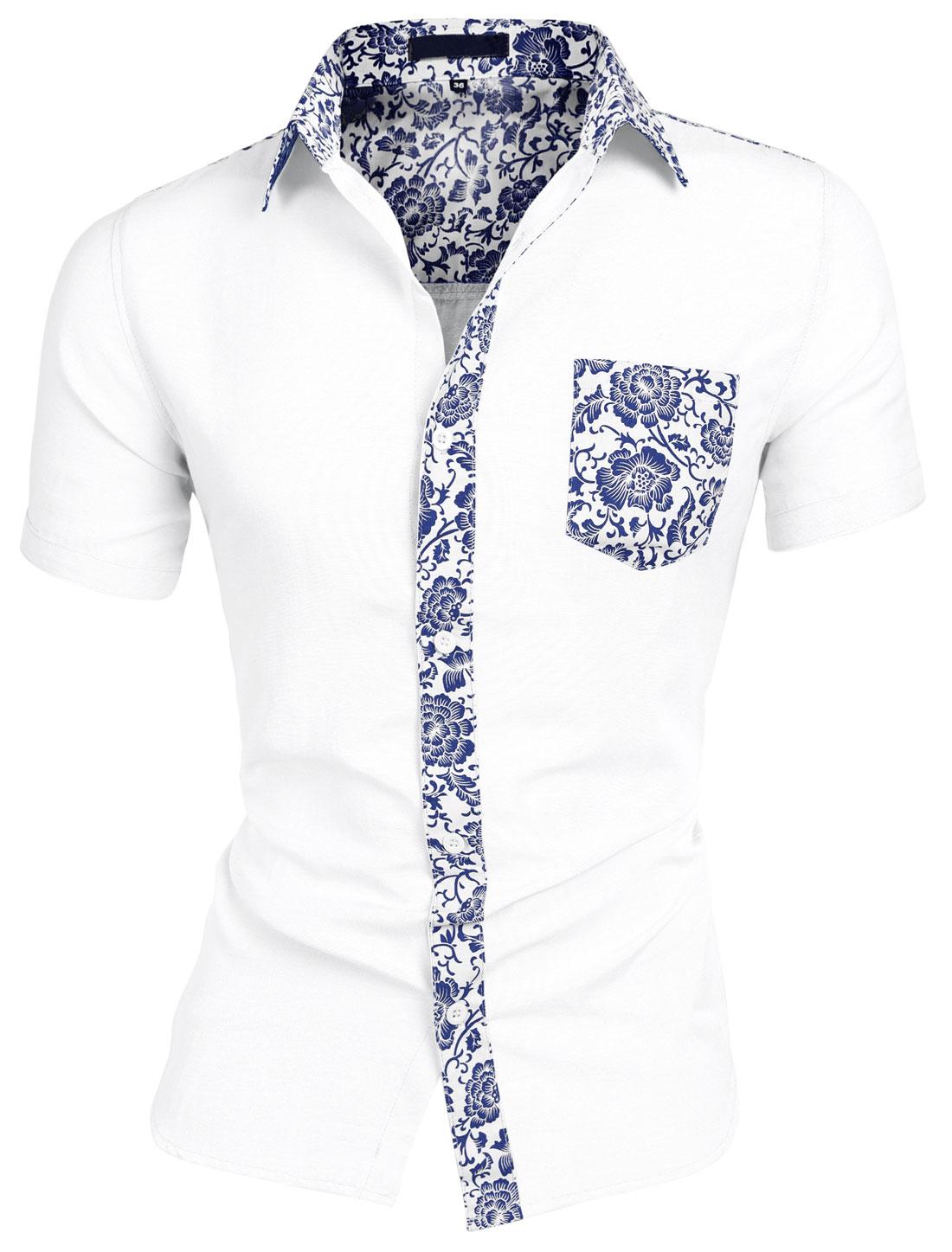 Men Floral Pocket Short Sleeve Button Down Casual Hawaiian Shirt Navy White L