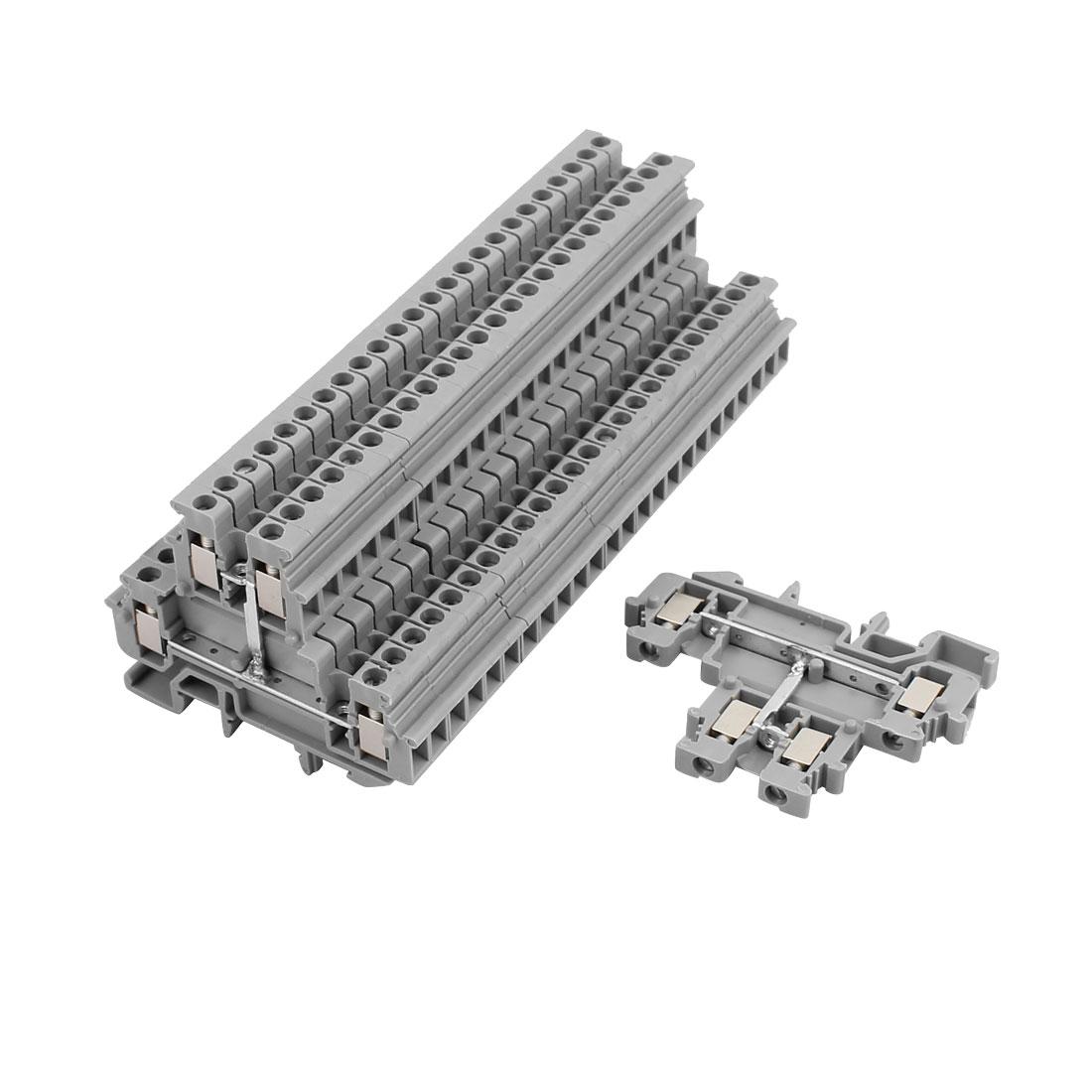 25Pcs MBKKB2.5 DIN Rail Mount Double-level Terminal Block 500V 32A Gray