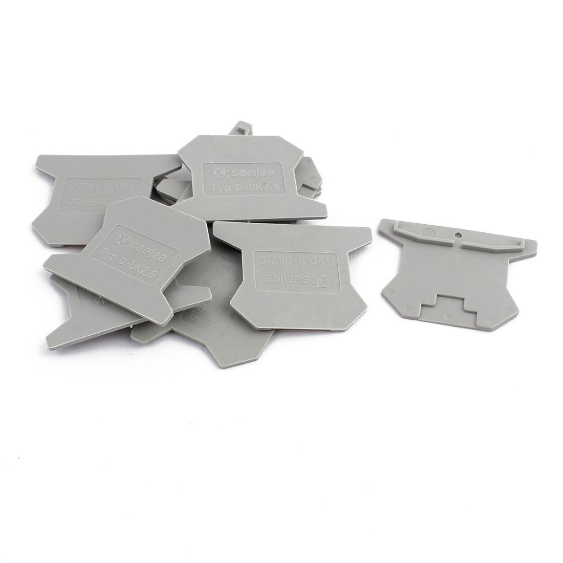 10Pcs D-UK2.5 DIN Rail Terminal Block End Plate Covers Protectors Barriers