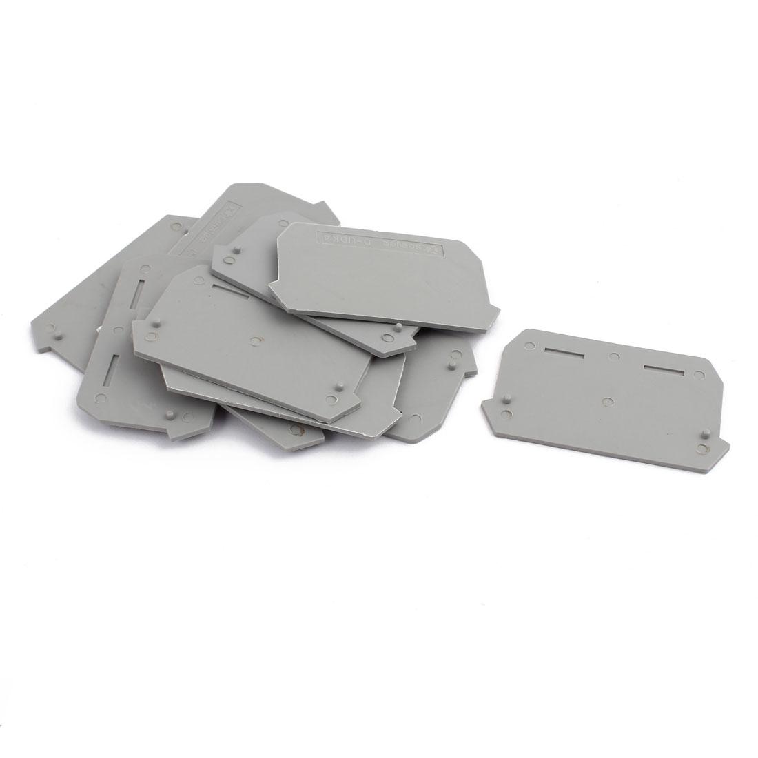 10Pcs D-UDK4 DIN Rail Terminal Block End Plate Covers Protectors Barriers