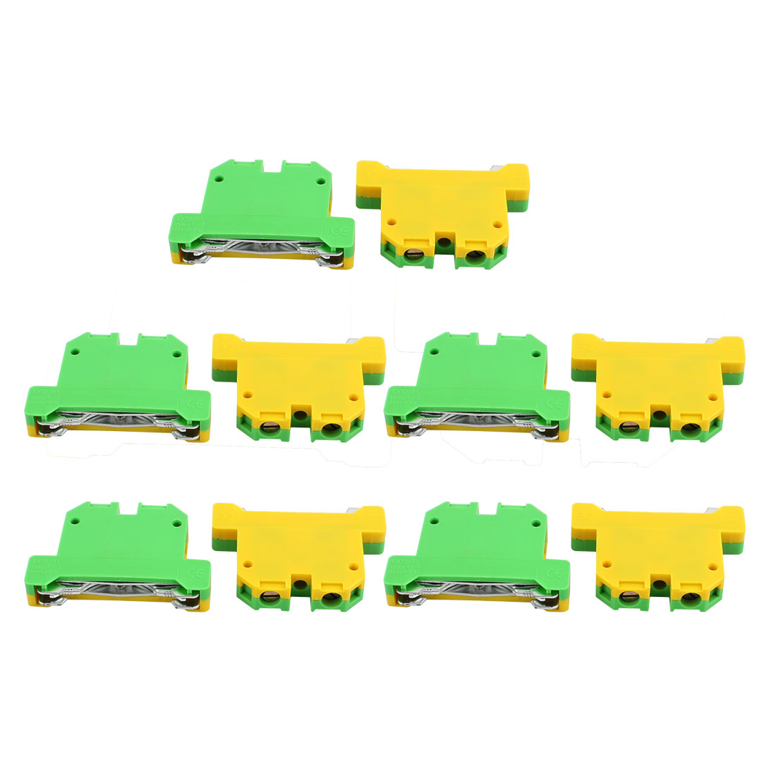 10Pcs 57x42x10mm 10mm2 Wire 800V Universal Grounding Terminal Block Yellow Green