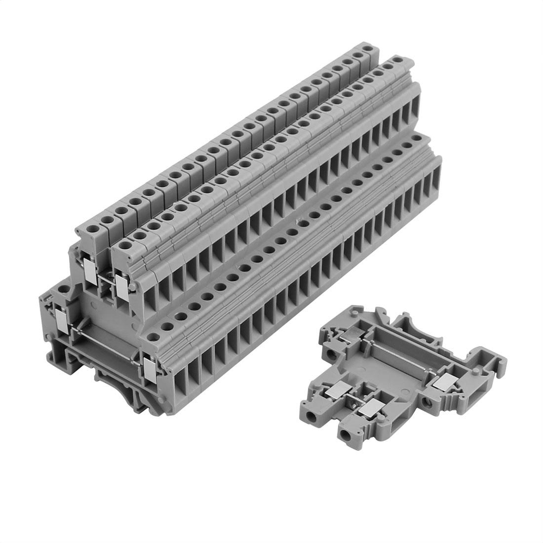 25Pcs UKK5 DIN Rail Mounting Double-level Terminal Block 600V 32A 28-10AWG