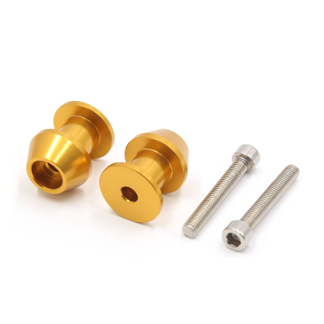 Pair Gold Tone Metal 6mm Thread Dia CNC Swingarm Spools Sliders Stand Bobbins