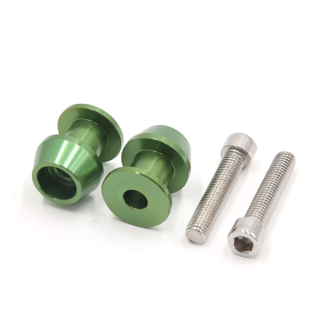 Pair Green Metal 8mm Thread Dia CNC Swingarm Spools Sliders Stand Bobbins