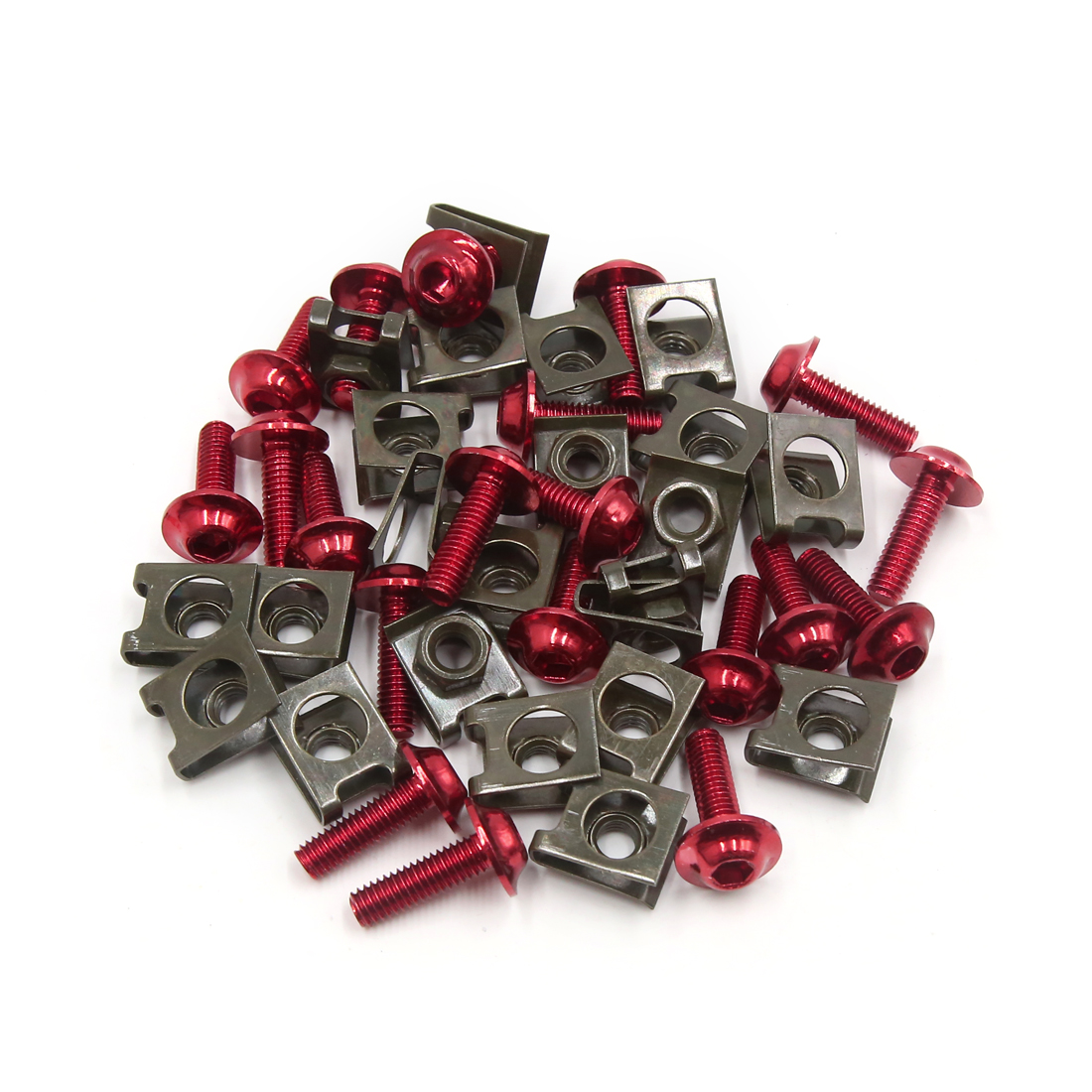20 Pcs Metal M6 Motorcycle Fairing Bolts Kits Fastener Clips Screw Spring Nuts