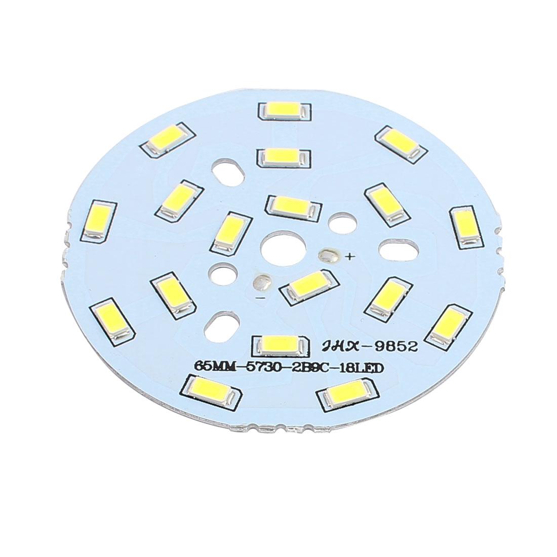 65mm Dia 9W 18 LEDs 5730 SMD Pure White LED Ceiling Light Aluminum Board