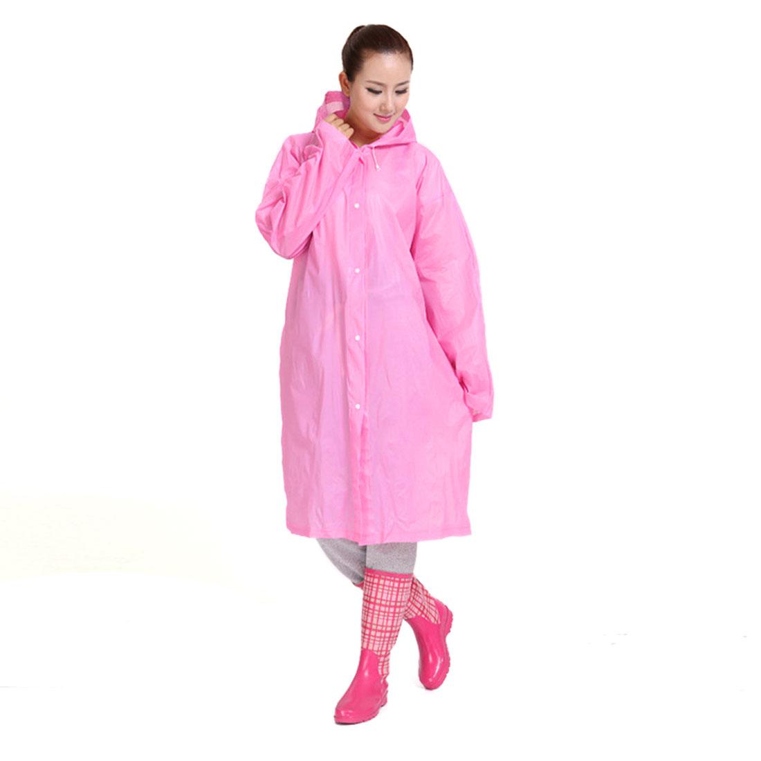 Pink EVA Outdoor Waterproof Raincoat Rainwear Hooded Rain Poncho for Bicycle