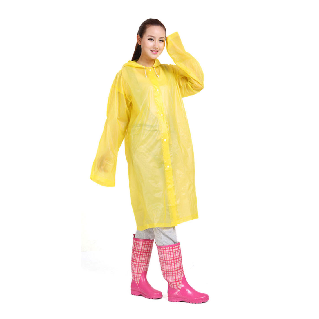 L Yellow Portable EVA Waterproof Adult Raincoat Hooded Rain Poncho for Bicycle