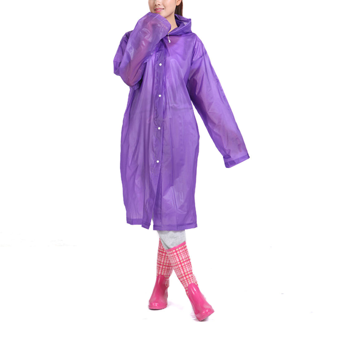 L Purple Portable EVA Waterproof Adult Raincoat Hooded Rain Poncho for Bicycle