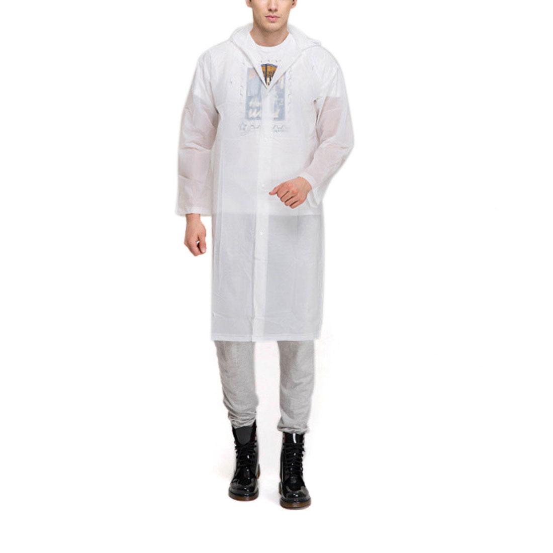 XL White Portable EVA Waterproof Adult Raincoat Hooded Rain Poncho for Bicycle