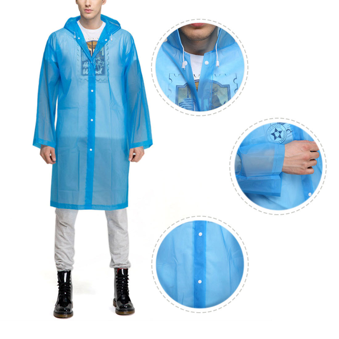 M Blue Portable EVA Waterproof Adult Raincoat Hooded Rain Poncho for Bicycle