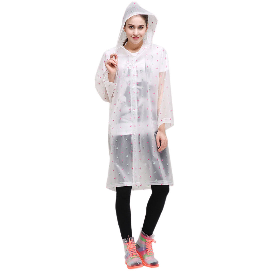M Bird Pattern Outdoor Waterproof Women Girls Hooded Raincoat Poncho for Bicycle