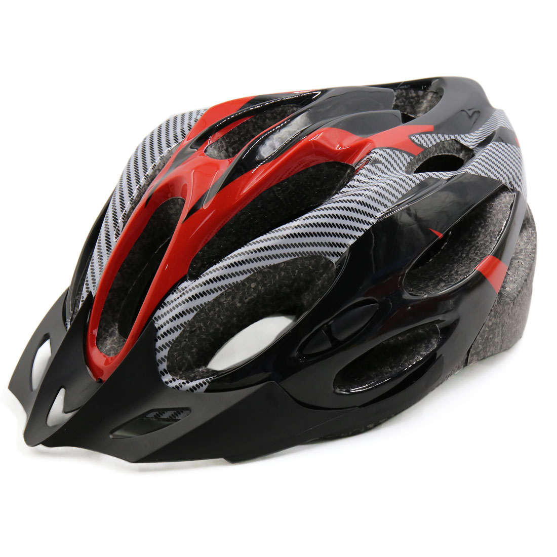 Carbon Fiber Pattern 21 Holes Outdoor Cycling Bicycle Road Bike Helmet Red Black