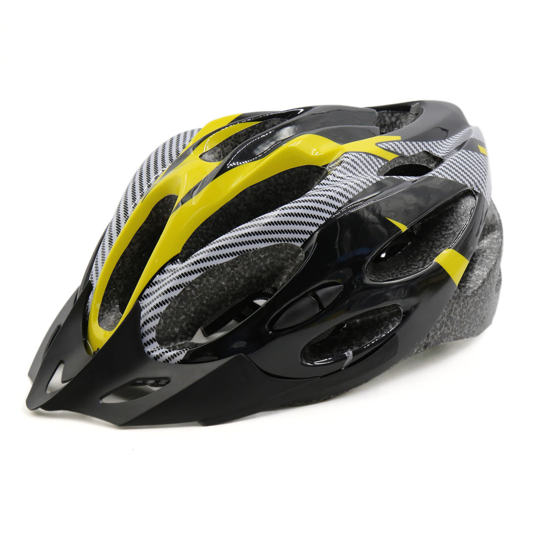 Carbon Fiber Pattern 21 Holes Outdoor Cycling Bicycle Road Bike Helmet Yellow Black
