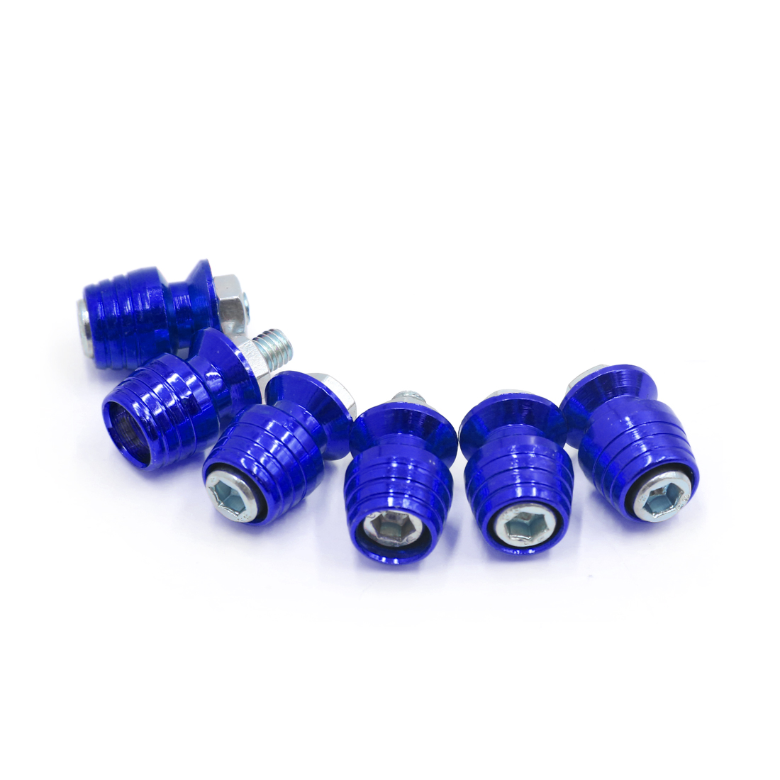 6Pcs Universal Blue Metal Conversion License Plate Bolt Screw for Motorcycle