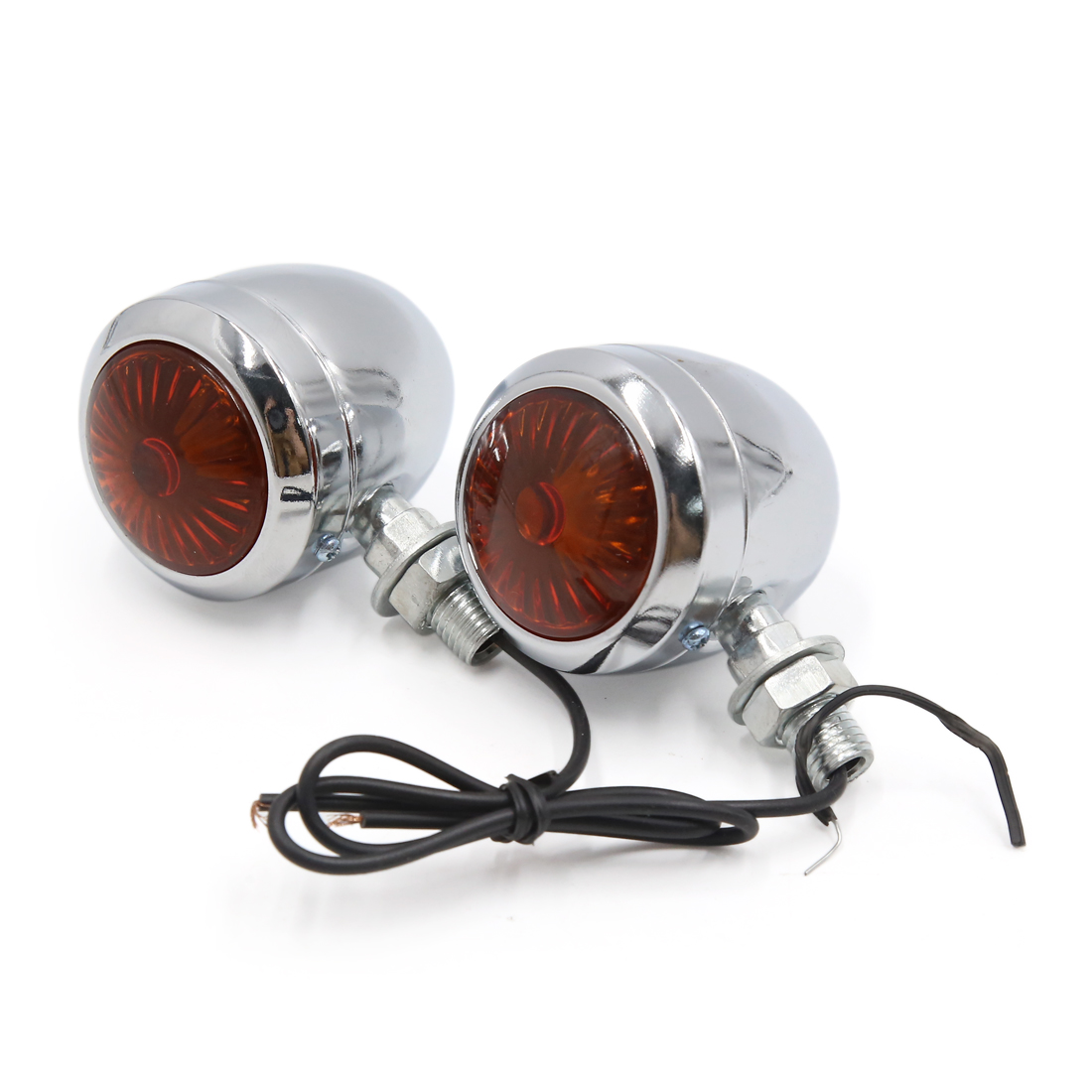 2Pcs Silver Tone Shell Yellow Turn Signal Light Driving Lamp Bulb for Motorcycle