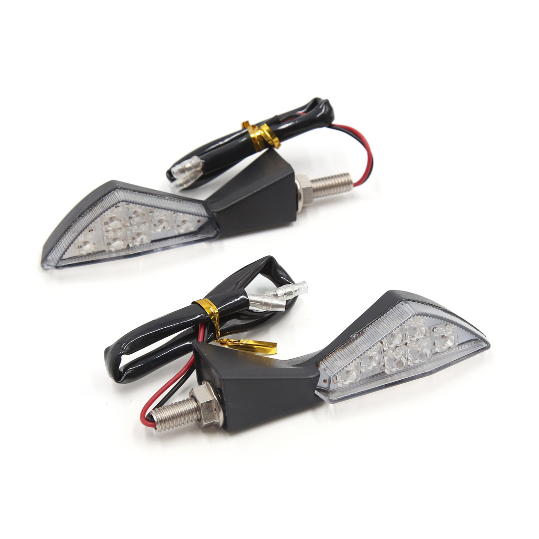 2Pcs Black Shell Triangle Yellow 7 LEDs Driving Turn Signal Light for Motorcycle