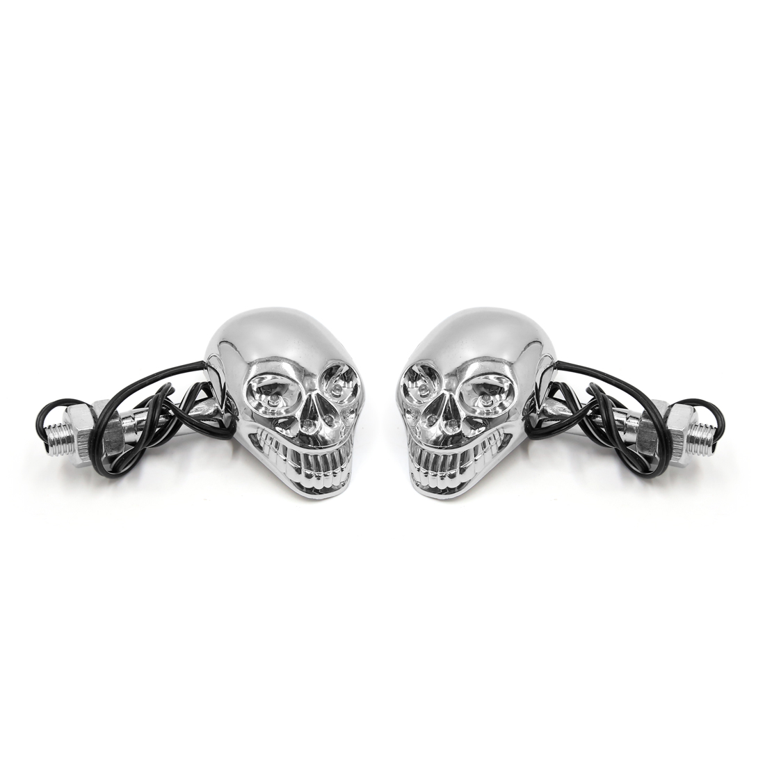 2Pcs Silver Tone Shell Skull Shape Motorcycle Yellow Decorative Light Side Lamp