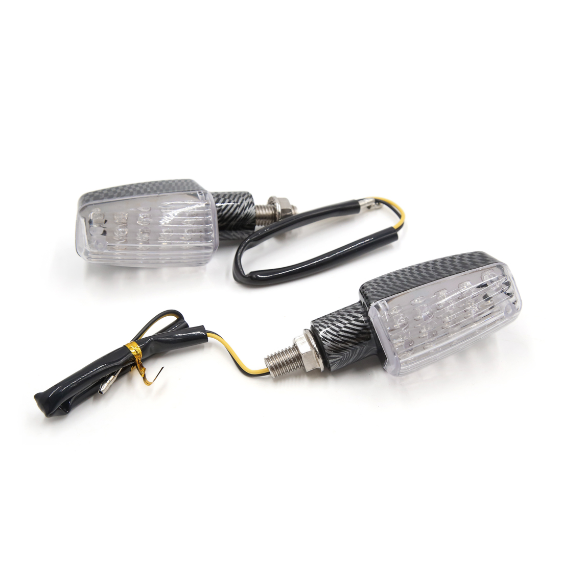 2Pcs Black Gray Shell Rectangle Yellow 14 LEDs Turn Signal Light for Motorcycle