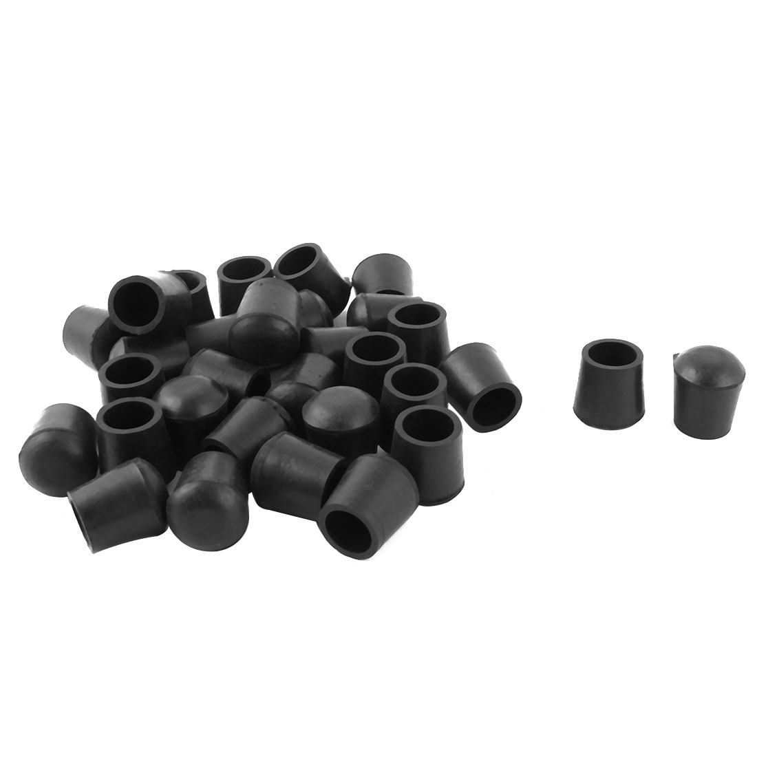 Home Rubber Furniture Table Foot Dirt Protector Cover Black 16mm Dia 31 Pcs