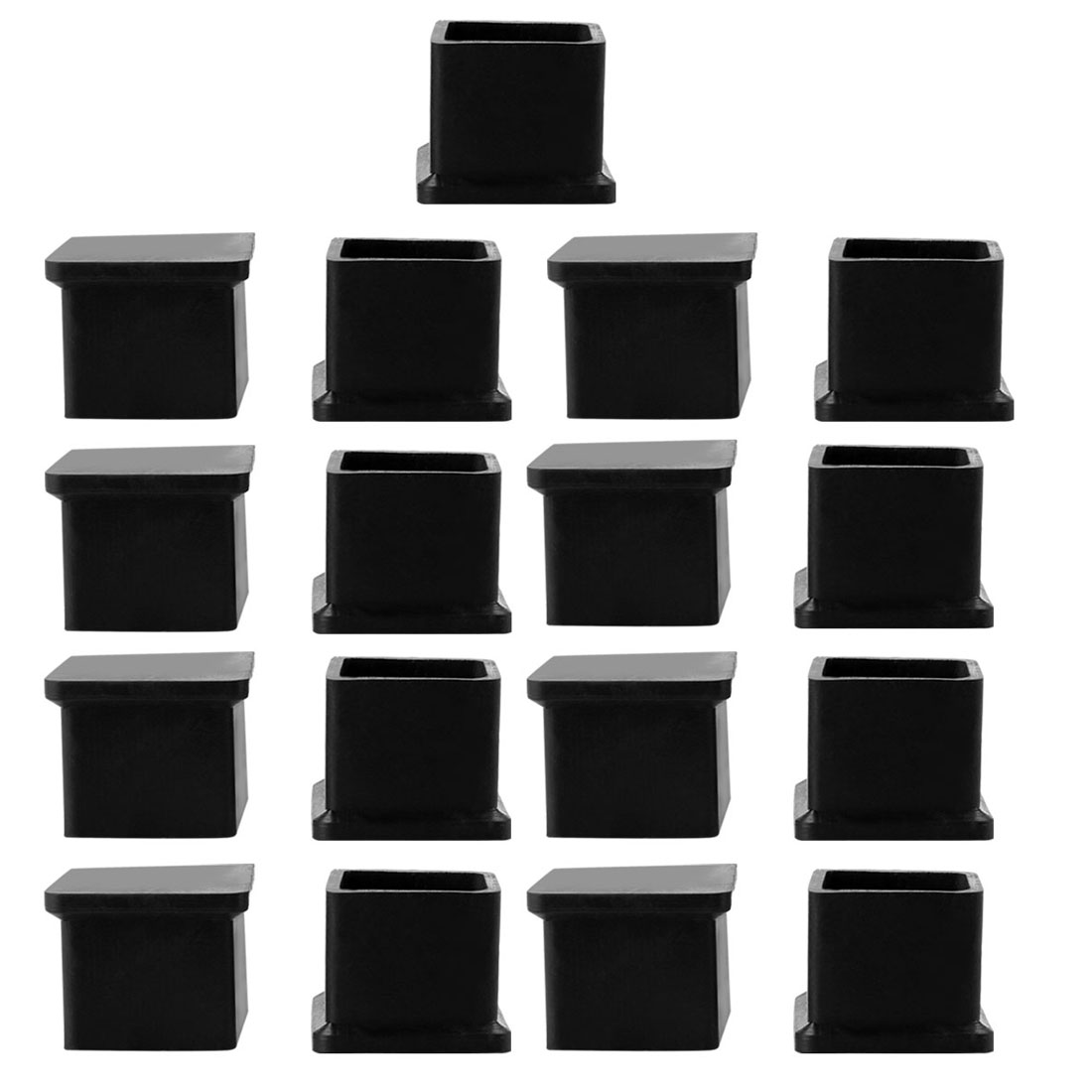 Home Rubber Furniture Table Foot Protector Caps Cover Black 22mm x 22mm 17 Pcs