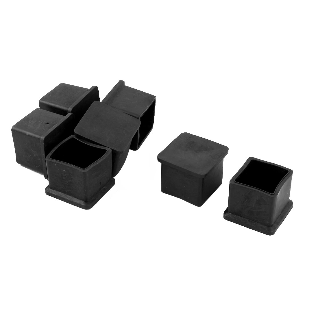 Office Rubber Furniture Table Foot Protector Caps Cover Black 22mm x 22mm 7 Pcs