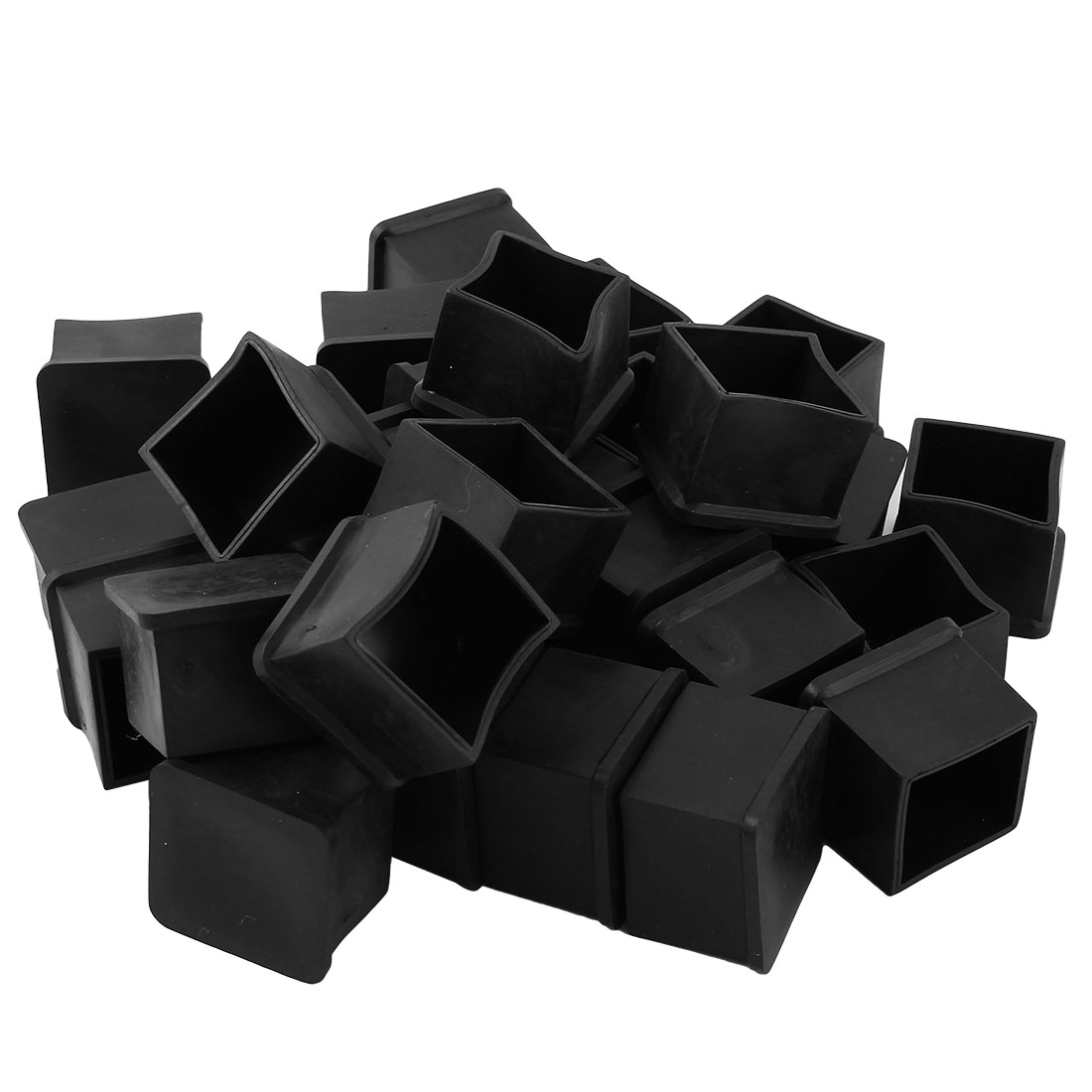 Office Rubber Furniture Foot Floor Protector Cover Black 30mm x 30mm 29 Pcs