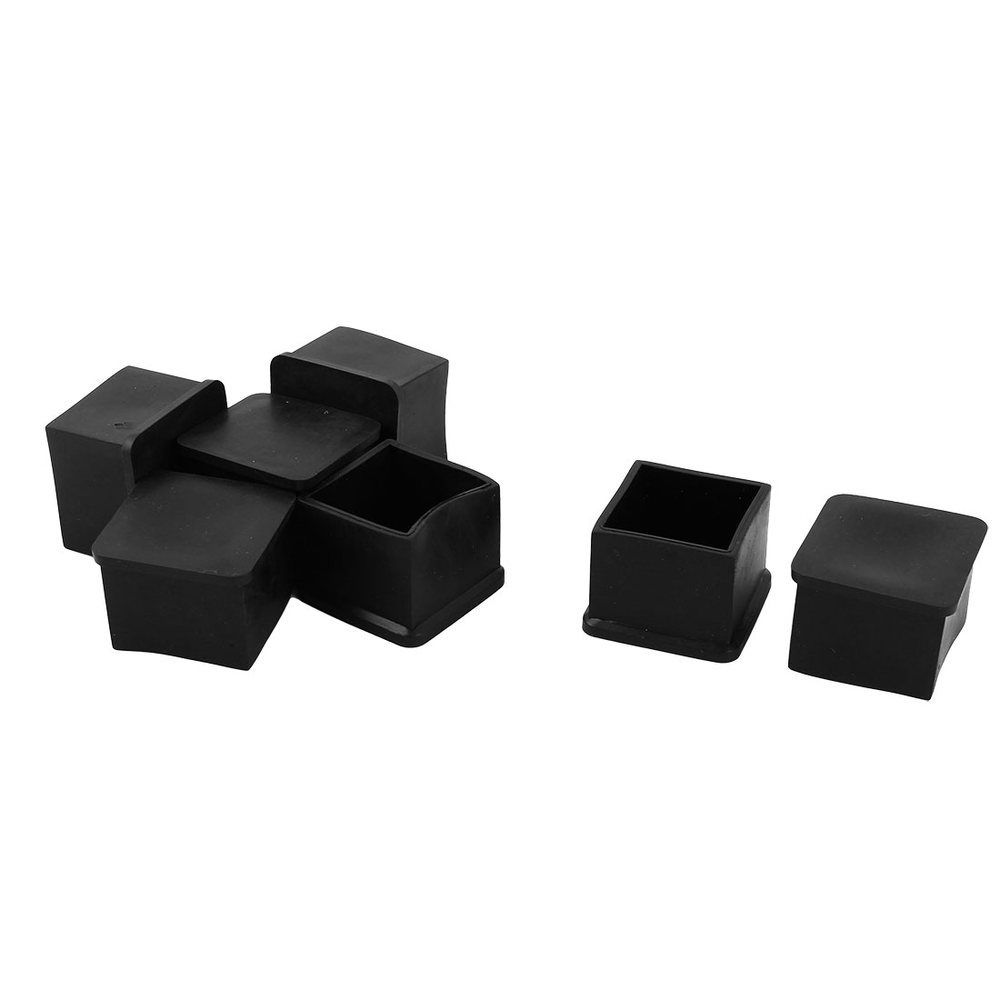 Home Rubber Square Furniture Foot Floor Protector Cover Black 30mm x 30mm 7 Pcs