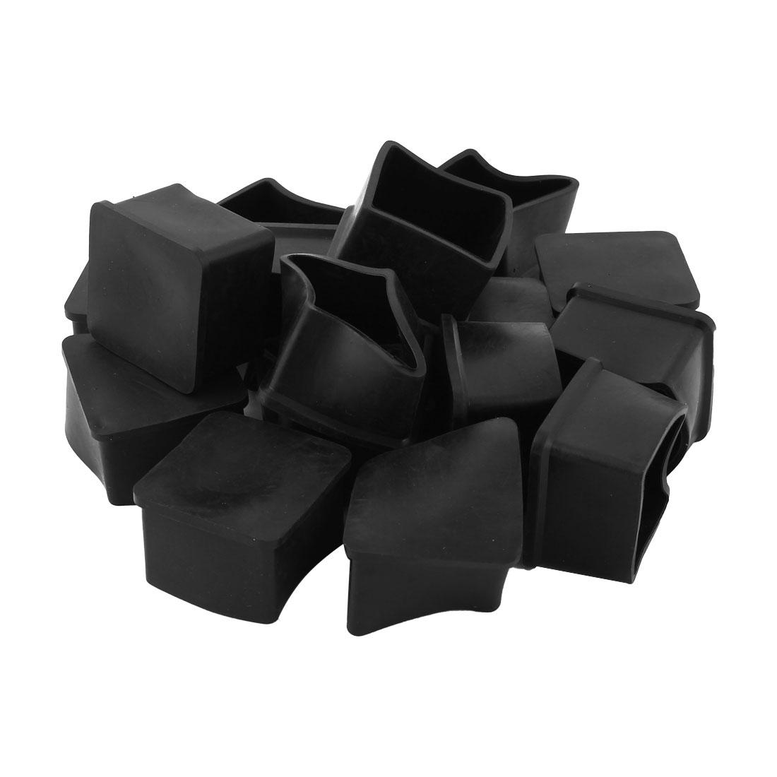 Rubber Furniture Foot Floor Protector Cover Black 35mm x 35mm 17 Pcs